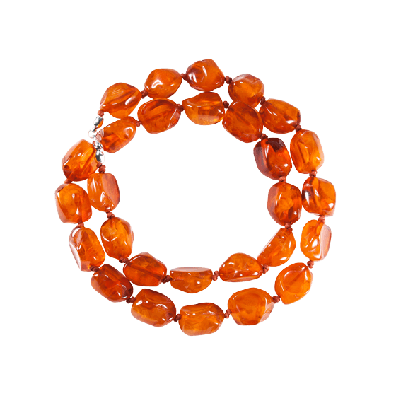 Collar de resina natural color naranja