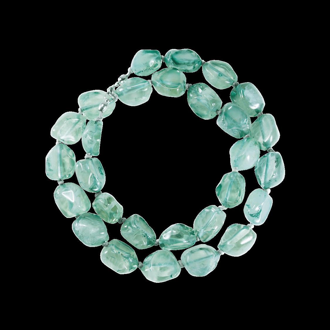 Collar de resina natural color verde agua