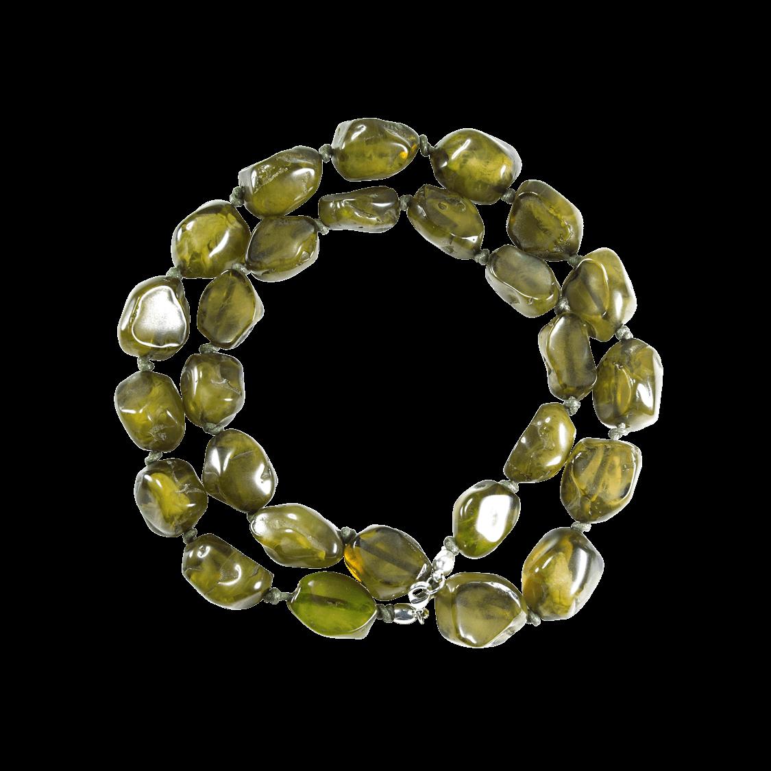 Collar de resina natural color verde oliva